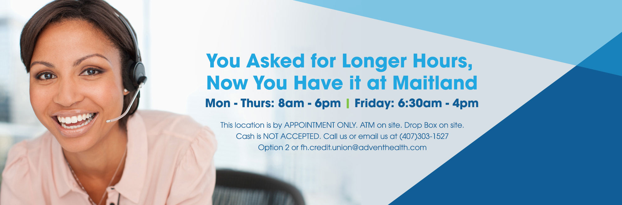 Our appointment only Maitland location is now open Mon - Thur 8a - 6p and Fri 6:30a - 4p.