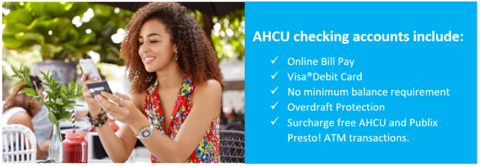 AHCU checking accounts include online bill pay, debit card, overdraft protection and more