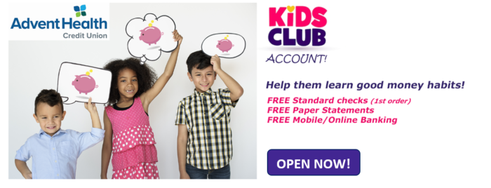 Kids Club Accounts come with free standard checks, paper statements, and online banking. Open one now!