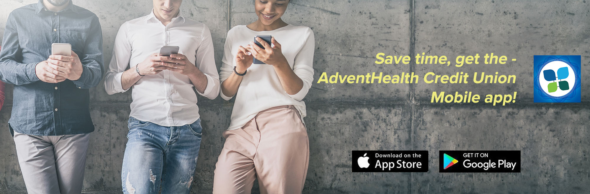 Search AdventHealth Credit Union in your App Store and download our mobile app