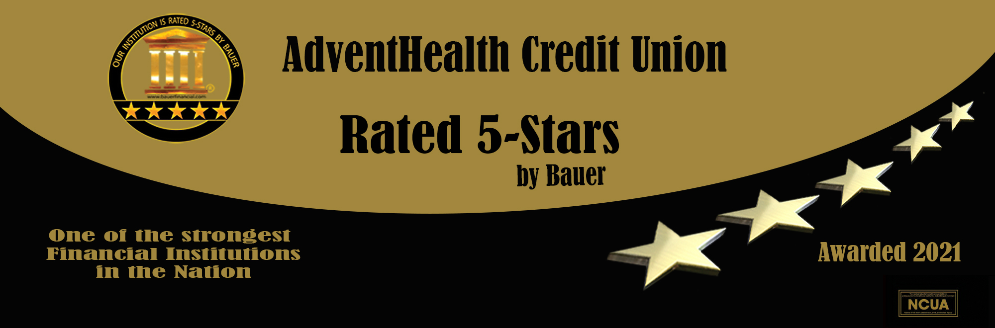 AdventHealth Credit Union rated 5 stars by Bauer in 2021. One of the nation's strongest financial institutions.